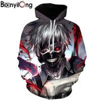 Wholesale anime tracksuit online - 2018 Anime D Sweatshirts Men women Tracksuits Tops Print Hooded Anime Tokyo Ghoul Kaneki Ken D Hoodies Thin Autumn Sweatshirts