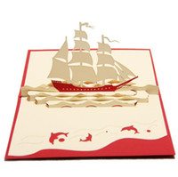 kirigami origami 3d venda por atacado-New Creative Sailing Boat Cartões Artesanais Kirigami Origami 3D Pop UP Cartões de Presente de Aniversário de Negócios Cartão Postal