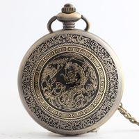 presentes chineses do xmas venda por atacado-Nova Chegada 100 pçs / lote Vintage Bronze Chinês Dragão Relógio De Bolso De Quartzo Cadeia Colar de Presente de Natal Por Atacado