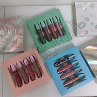 lápices labiales líquidos azules al por mayor-Recién llegado Kourt Lip Liquid Colección Lipstick KOURT 4pcs / set kit de brillo de labios 3 estilos verde azul rosa