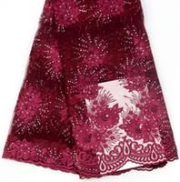 tecidos de flores frisados venda por atacado-Atacado frisado tecido de renda de alta qualidade flor bordado tecido de renda tecido de renda africano bonito para o vestuário MC