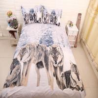 ingrosso comforter di lusso 3d-Lupo 3D Comforter per animali Set di biancheria da letto King Twin Queen Size Copripiumino di famiglia Biancheria da letto di lusso Copripiumino Set Lenzuola Copriletto
