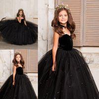 küçük kız siyah prenses elbiseleri toptan satış-Küçük Siyah Çocuk Bebek Kız Pageant Elbiseler Arapça Dubai Sweety Prenses Balo Tül Örgün Törenlerinde Çiçek Kız Elbise Sevgiliye