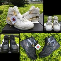 Wholesale white confetti - 2018 New 8 C&C Champion Confetti Men Basketball Shoes 8s Cigar Black Gold Trophy White Gold 8S VIII Outdoor Original Mens Sports Sneakers