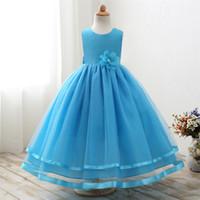 ingrosso palline bianche del vestito blu-Flower Girl Dresses Abito da comunione bianco Tulle blu Abiti Abiti da spettacolo per bambine Ball Gown 2-14Y