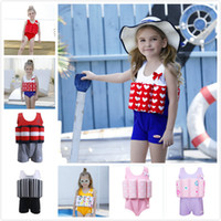 Wholesale girls cotton swimwear for sale - Group buy 2018 Girl Princess Striped Solid Color One piece Buoyancy Swimsuit with Removeable Buoyancy Cotton Swabs Children s Swimwear Baby Swimwear