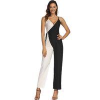 467afed7829 Elegante costura preto e branco Sexy Spaghetti Strap macacão Womens Jumpsuit  sem mangas BacklessBow Casual pernas largas macacões