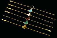 Wholesale 18 k white gold jewelry - Hot sale Four Leaf flower series bracelet Copper plating 18 K gold bracelets Butterfly Shape bracelets bangles Jewelry