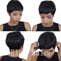 Wholesale real european lace wigs - Cheap Human Real Hair Short Pixie cut Wigs Peruvian Full Hair Glueless Lace Wig African American Short Bob Wigs