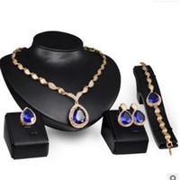 conjunto de pulseira de brincos azul venda por atacado-Luxo jóias designer de jóias conjunto para jóias de casamento azul colar de cristal pulseiras brincos anéis para as mulheres moda quente
