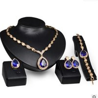 Wholesale peacock ring bracelet for sale - Group buy luxury jewelry designer jewelry set for wedding jewelry blue crystal necklace bracelets earrings rings for women hot fashion