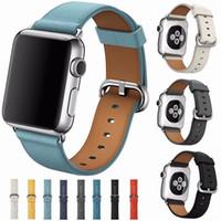 correas de reloj de cuero genuino de reemplazo al por mayor-Correa de repuesto de correa de cuero Litchi genuina con cierre de metal inoxidable para iWatch Apple Watch Serie 3 Serie 2 Serie 1
