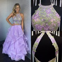 Wholesale dress pick up lines for sale - Light Purple Two Piece Prom Dresses Halter Appliques Beaded Organza Floor Length Backless Prom Dresses Sweet Dress