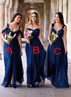 Wholesale wedding dresses neckline styles for sale - Group buy Navy Blue Mixed Neckline Long Bridesmaid Dresses New Country Style A Line Chiffon Side Split Maid Of Honor Gowns Wedding Guest Wear