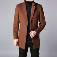 коричневые люди оптовых-2018 Winter Fashion  Trench Coat Mens Long Slim Fit Peacoat Warm Jackets Wool Blends Overcoat Brown Casual Men Clothes