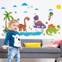 fond d'écran d'anniversaire achat en gros de-Enfants Chambre Fond Stickers Muraux Dino Paradise Beta Enfants Cadeau D'anniversaire Papier Peint Décor À La Maison Affiche Décoration Art 3 3l Ww