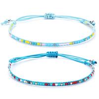 ingrosso perline acriliche-Braccialetti di perline in acrilico fatti a mano della Boemia Braccialetti di corda della treccia verde blu delle donne per il regalo fortunato dei monili delle donne