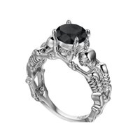 Wholesale crazy woman - Crazy Feng New Fashion Punk Jewelry Skull CZ Zircon Wedding Engagement Party Rings For Women Men Ring Jewelry Gift