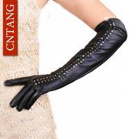 кожаные заклепки оптовых-Sexy Hot 2018 Winter Fashion Rivet High Quality Artificial Leather Women Gloves Black Elbow Length Gloves Sexy Black Warm