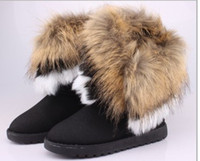 Wholesale Ladies Long Fur Boots - SZSGCN84-Big Size 36-42! Fur Warm Autumn Winter Wedges Snow Women Boots Shoes GenuineI Mitation Lady Short Boots Casual Long Snow Shoes