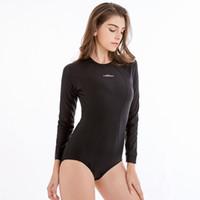 neopren mayo kadınları toptan satış-Yeni Yüksek Kaliteli Sıkı Fermuar Rushguard Kadınlar için Dalış Mayolar Klasik Siyah Mayo Sörf Uzun Kollu Tek Parça Mayo