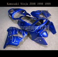 mavi 1998 zx9r toptan satış-ABS Gövde Kiti Kawasaki Ninja ZX9R 1998 1999 Mavi için Özel Boyalı Fairing