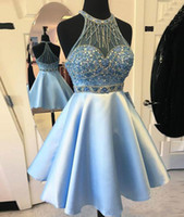 Perfect Beads Satin Homecoming Dresses Sky Blue Sheer A-Line Mini Knee Length 2018 Short Prom Dress Cocktail Cocktail Party Club Wear