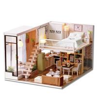 luzes de casas de bonecas de madeira venda por atacado-Venda por atacado - miniatura de madeira DIY casa de bonecas brinquedo montar kits de brinquedos em miniatura 3D Dollhouse com luzes de mobiliário para presente de aniversário L020