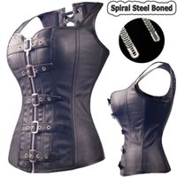stahl knochen korsetts kleider großhandel-Schwarz Spiral Steel Boned Steampunk Vollbrust Korsett Bustier Top Kleid Sexy G String Dessous Frauen Korsetts Plus Size S-6XL