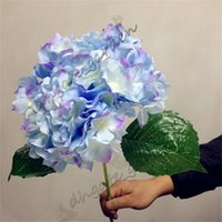 "Wholesale artificial single flowers pink - Artificial Hydrangea Flower 80cm 31.5"" Fake Single Hydrangeas 6 Colors for Wedding Centerpieces Home Party Decorative Flowers"