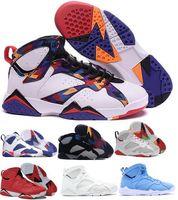 n7 basketbol ayakkabıları toptan satış-Ucuz 7 Basketbol Ayakkabı Erkekler Kadınlar 7 s VII Mor UNC Bordo Olimpiyat Panton Saf Para Hiçbir Şey Raptor N7 Zapatos Eğitmen Spor Ayakkabı Sneaker