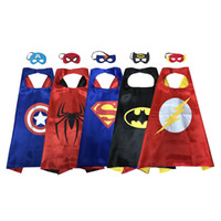 Wholesale christmas kids sets - wholesale Kids Costume double Layer satin Cape with Mask Set holiday halloween party favor superhero cosplay costume