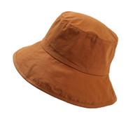 Wholesale big summer hats women - Summer Plain Solid Color Safari Sun Bucket Fishermen Fisherman Washed Cotton Hat Women Big Brim Hats Girls Cap Fashion