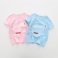 Wholesale boy fashion models for sale - Group buy Summer Boys Lenzing Model Essentials Soft Pink Blue Plane Pattern Children s Round Neck Short sleeved T shirt cm