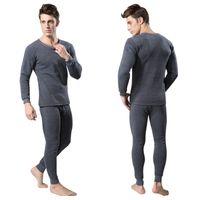 мужское нижнее белье оптовых-Men 2 Pieces/lot Cotton Thermal Underwear Set Winter Warm Thicken Long Johns Tops Bottom