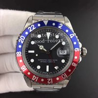 Wholesale antique watches - Old Style Mens Automatic Blue Red Bezel Watch Men's ETA 2836 Movement Antique Gmt Retro Batman Steel 16710 Men Watches Sports Wristwatches