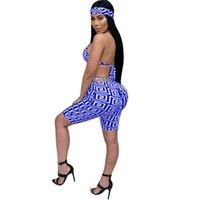 calça de kerchief venda por atacado-Mulheres Agasalho Três Peças Define Impressão Amarrar Sutiãs Sexy, Meias Calças Compridas, Lenço de Cabeça para Esporte Praia Vestindo