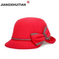 Wholesale felt bucket hats resale online - 2017 wide brim felt hat fedora hats for women big bow of fall winter chapeu feminino sombrero floppy bowler ladies bucket cap