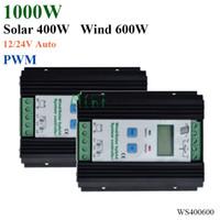 paneles solares reguladores de carga al por mayor-Regulador híbrido solar del viento 1000W turbina de viento 600W regulador del cargador del panel solar 400W 12V / 24V auto con la exhibición grande del LCD