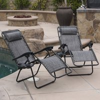 Wholesale Folding Lounge - 2 Lounge Chair Outdoor Zero Gravity Beach Patio Pool Yard Folding Recliner, Gray