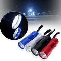 batería led mini al por mayor-9 LED Mini Torch Mini LED Linterna 300LM LED Camping Linterna Antorcha Linternas a prueba de agua Lámpara 3AA Linternas con pilas