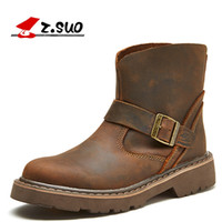 Wholesale genuine crazy horse leather resale online - New man Martin boots fashion genuine leather Motorcycle boots crazy horse leather man outdoor tooling boots