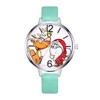 женщины смотрят музыку оптовых-Большой круглый циферблат кварцевые часы Женщины Музыка Кожаный ремешок наручные часы для женщин Orologio Uomo Рождественский подарок Санта-Клауса Классический