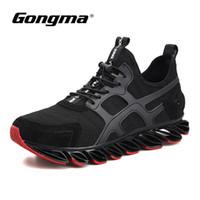 schuhlauf springling großhandel-Gongma Laufschuhe für Männer Dämpfung Springblade Sport Turnschuhe Mann Breathable Black Jogging Schuhe Wear-resisting Sneaker 44