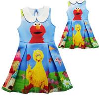 elmo kleider großhandel-2017 Baby Mädchen Kleid Sesame Street Elmo Cartoon Kleid Sommer Kinder Kinder Kostüme Für Mädchen Party Kleider