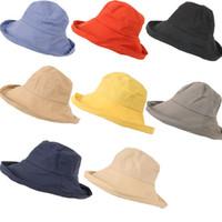 ingrosso diversi cappelli cappelli-8 diverse ragazze di colore solido all'aperto parasole cappello protezione solare spiaggia cap donne cappelli moda tessuto popolare vendita calda