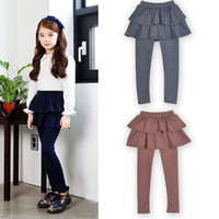 Wholesale solid children leggings tights resale online - Girls Fake two pieces Skirt Pants Autumn Spring Baby Leggings Boutique kids Clothes Children Trousers Tights colors C4895