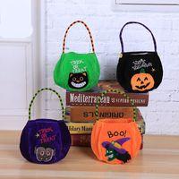 Wholesale halloween cloth children resale online - Halloween Decorate Prop Pumpkin Bag Children Lovely Portable Party Favor Gift Cloth Bags Trick Or Treat Hot Sale yq Ww