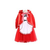 Wholesale baby show clothing - Girls Baby Princess Little Red Riding Hood Cosplay Clothes Ball Gown Backless Dress for Show Birthday Halloween Party Clothes