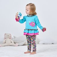 Wholesale cute elephant baby clothes resale online - Baby clothes pants pieces lovely blue Elephants Embroidered infant clothes long Sleeve petal style O neck with Flower floral pants